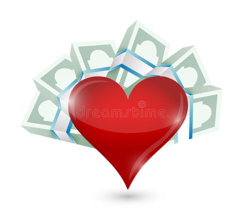 Hart met geld rond rekeningen Het ontwerp van de illustratie royalty-vrije illustratie