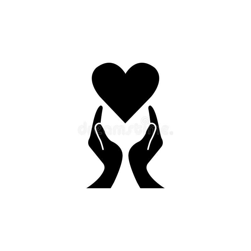 Hart met handen stevig pictogram, healtcare teken royalty-vrije illustratie
