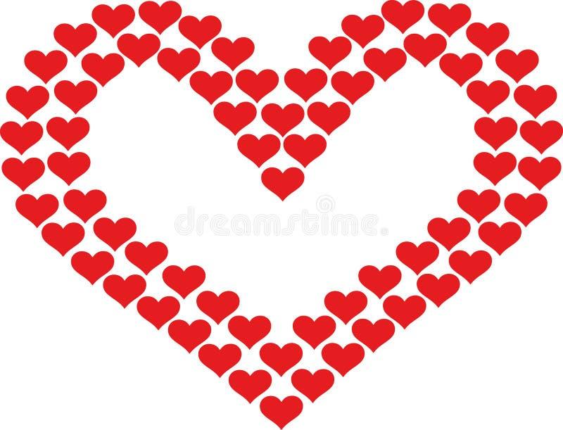 Hart met harten wordt ontworpen dat vector illustratie