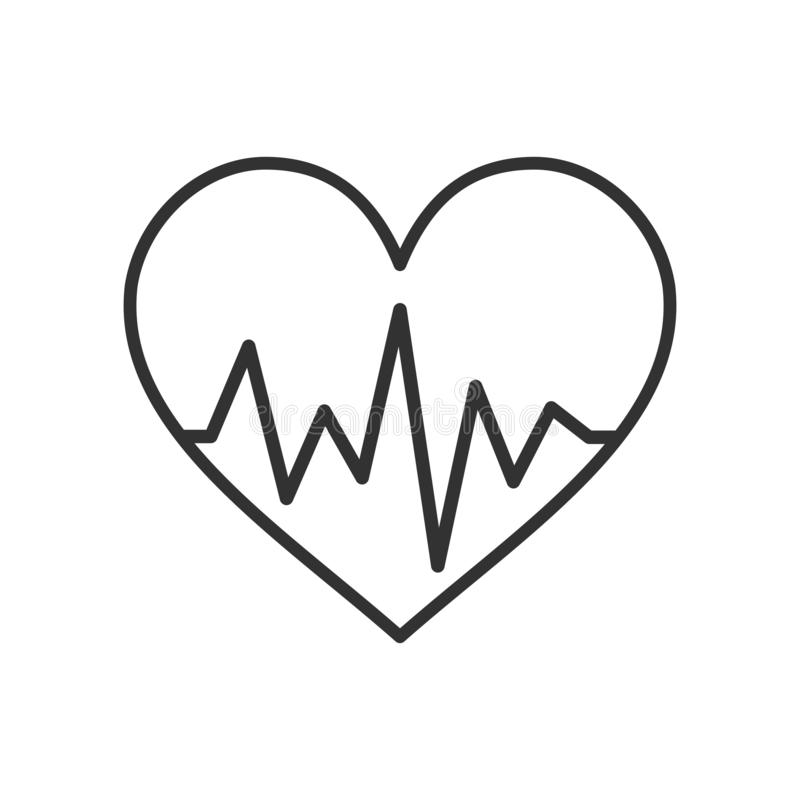 Hart met het Pictogram van het Elektrocardiogramoverzicht royalty-vrije illustratie