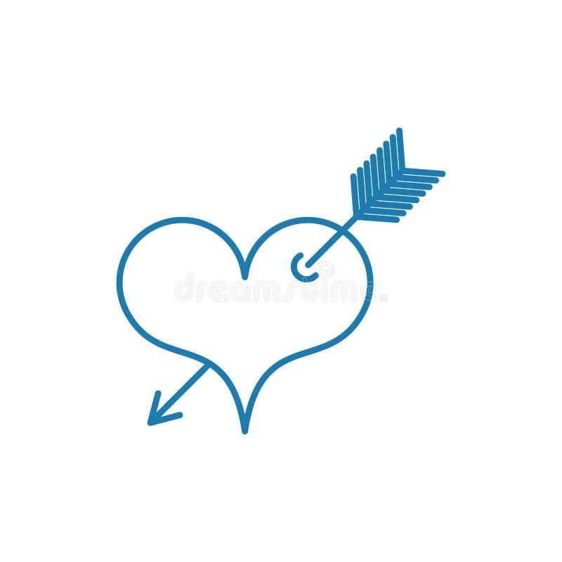 Hart met het symbool van de pijltatoegering van liefde lineaire stijl royalty-vrije illustratie