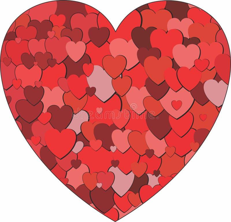 Hart met kleine harten wordt gevuld dat stock illustratie