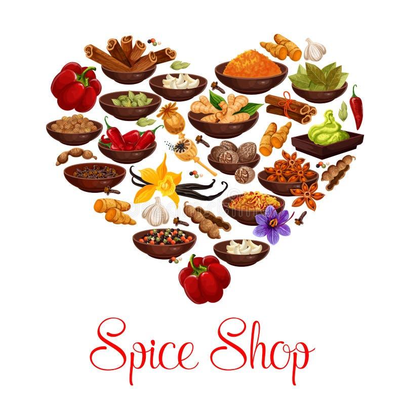 Hart met kruid, specerij en kruidenaffiche vector illustratie