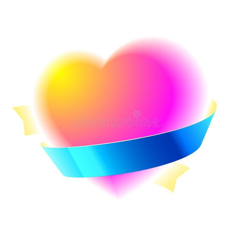 Hart met lint vector illustratie