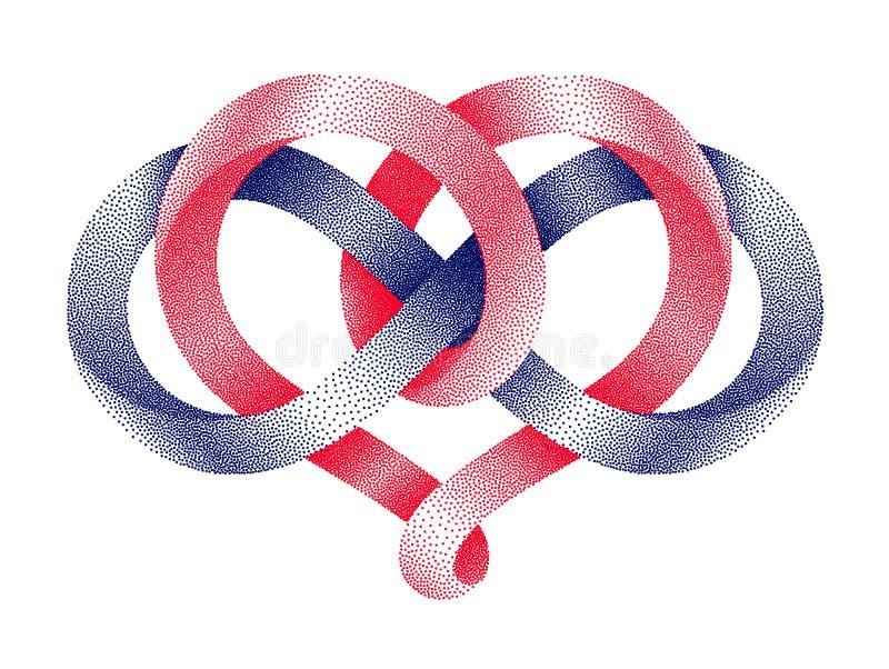 Hart met oneindigheidssymbool van gestippelde mobiusstrook Eeuwig liefdeteken Vector illustratie vector illustratie