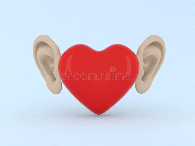 Hart met oren royalty-vrije illustratie