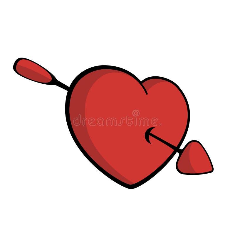 Hart met pijl wordt doordrongen, die in liefdevector die vallen stock illustratie