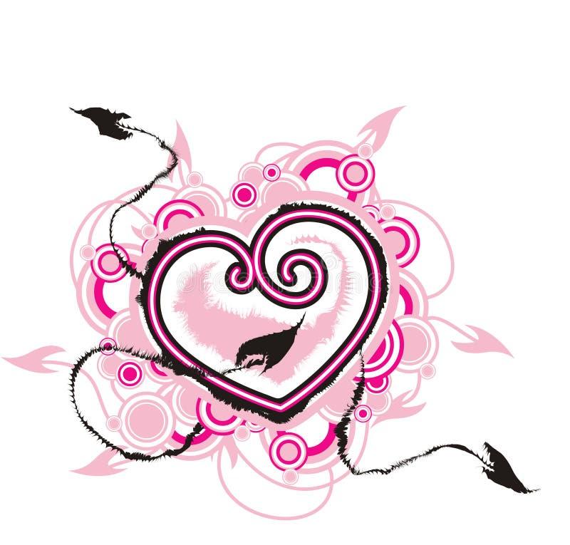 Hart met pijlen van liefde royalty-vrije illustratie