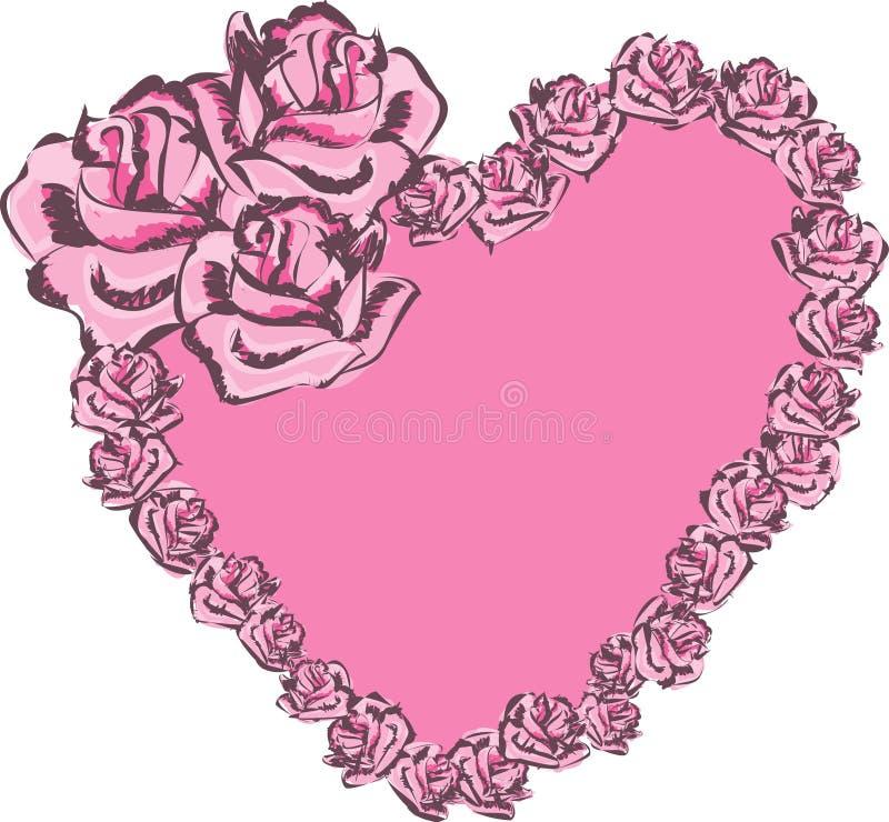 Hart met rozen royalty-vrije illustratie
