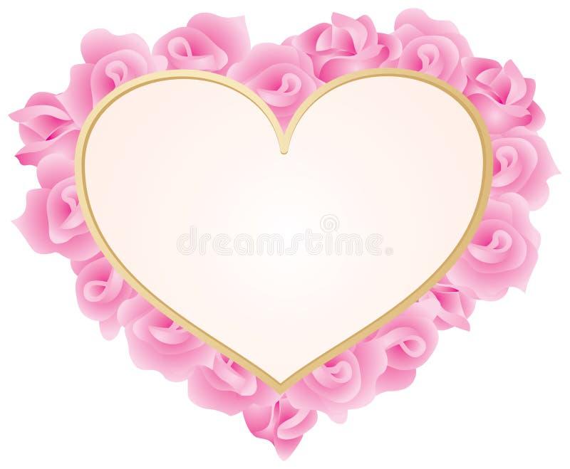 Hart met rozenframe vector illustratie