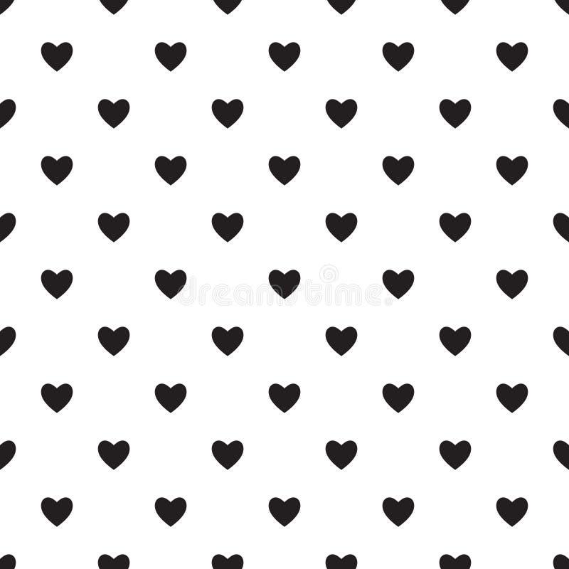 Hart naadloos patroon, eindeloze textuur Zwarte harten op witte achtergrond, stock illustratie