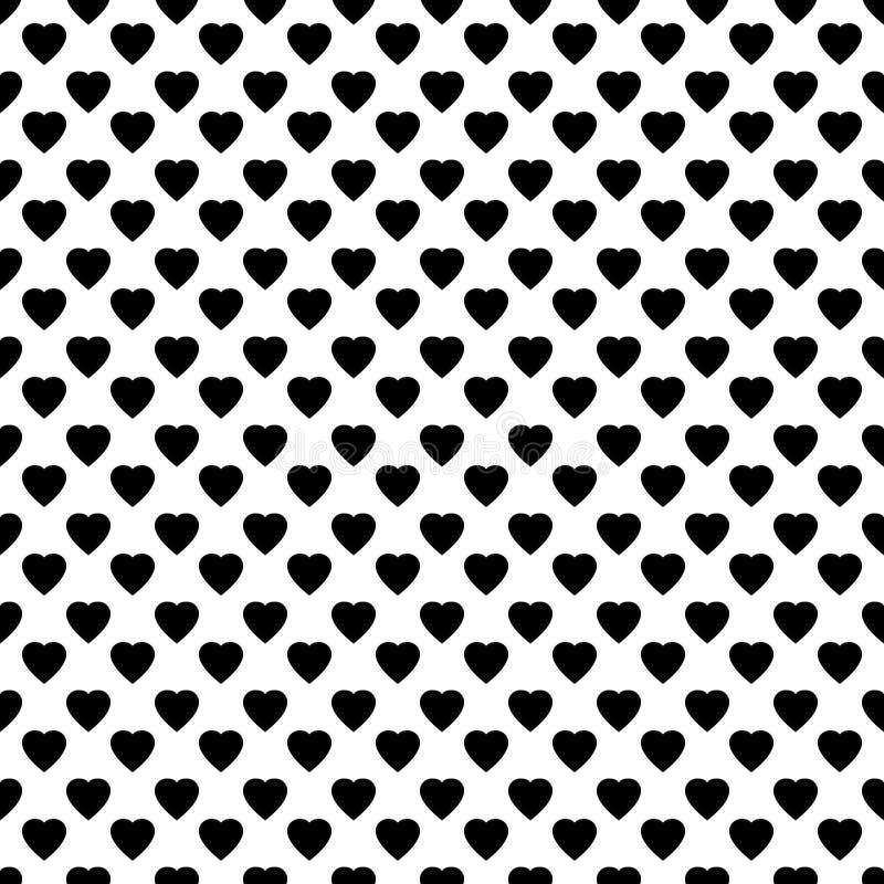Hart naadloos patroon, eindeloze textuur Zwarte harten op witte achtergrond, vectorillustratie De dagpatroon van de valentijnskaa royalty-vrije illustratie