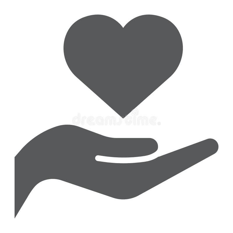 Hart op hand glyph pictogram, liefde en zorg, hart in wapenteken, vectorafbeeldingen, een stevig patroon op een witte achtergrond royalty-vrije illustratie