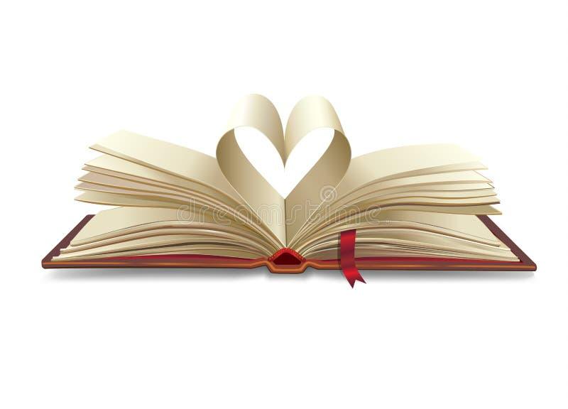 Hart open boek vector illustratie
