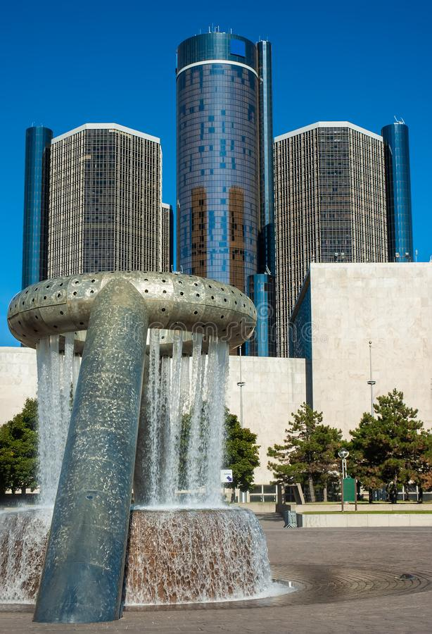 Detroit`s Hart Plaza Fountain royalty free stock images