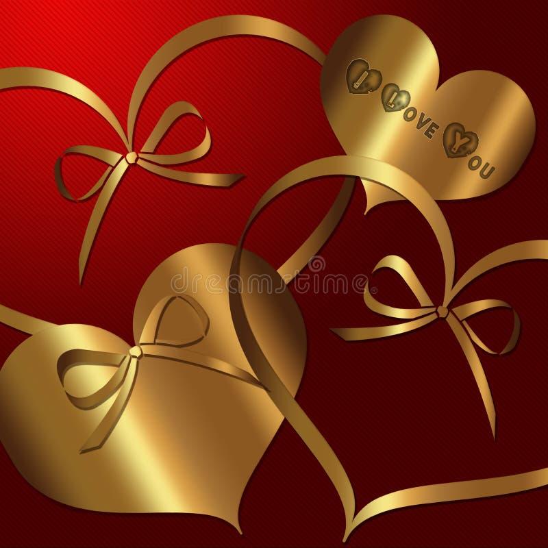 Hart Rode Gouden inzameling vector illustratie