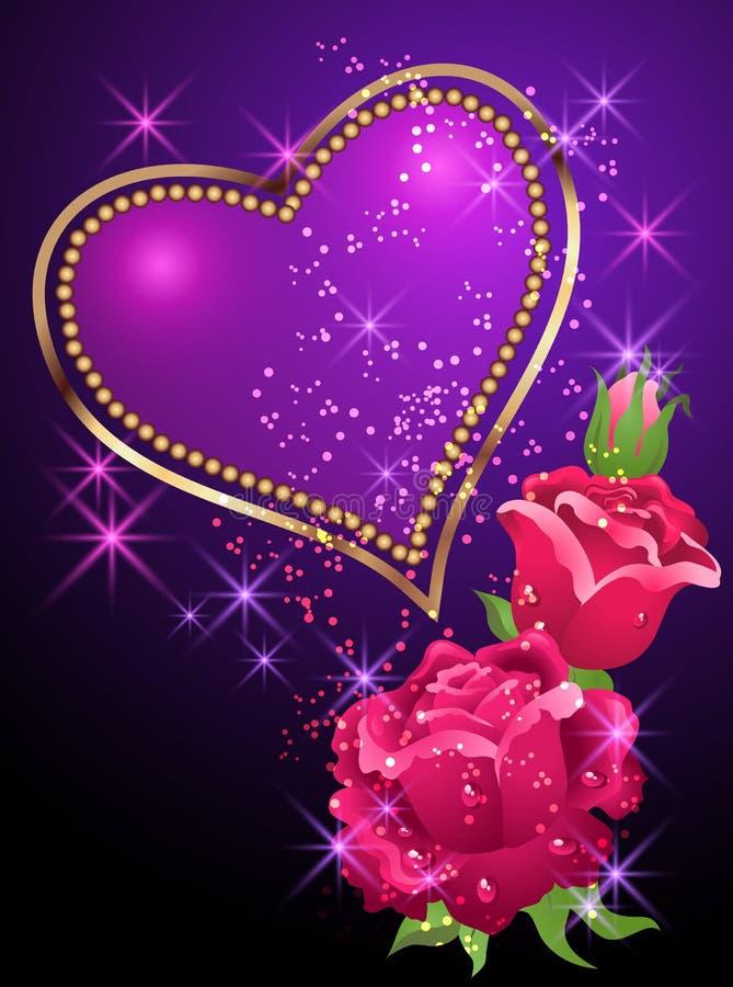 Hart, rozen en sterren royalty-vrije illustratie