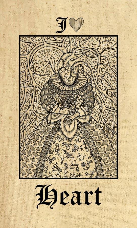 Hart Tarotkaart van dek van het de Geheimenorakel van Lenormand het Gotische stock illustratie