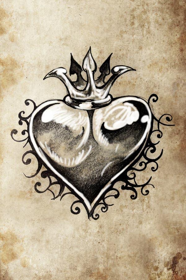 Hart, Tatoegeringsschets, met de hand gemaakt ontwerp stock illustratie