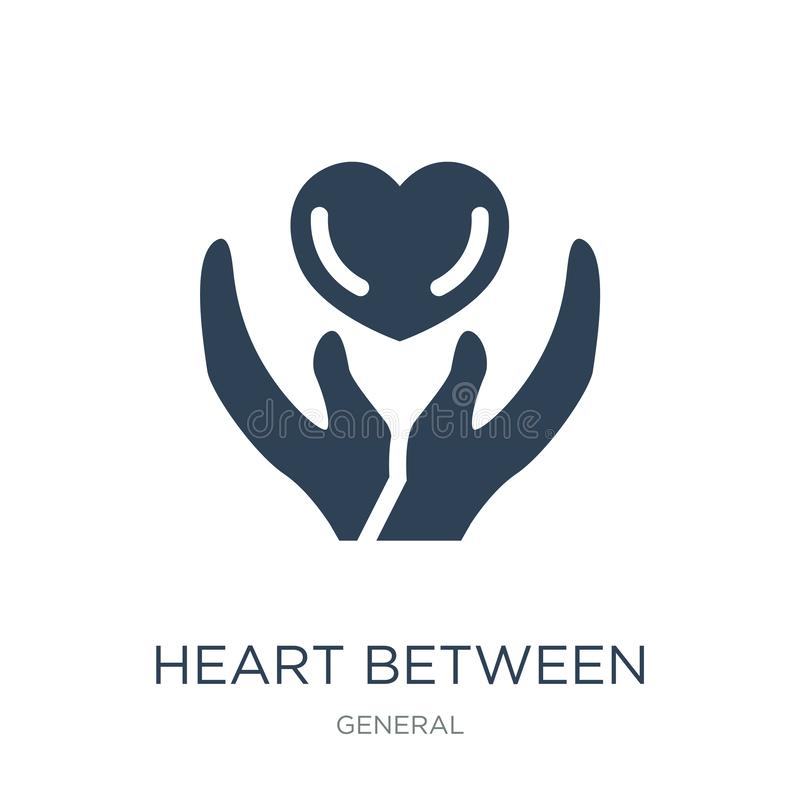 hart tussen handenpictogram in in ontwerpstijl hart tussen handenpictogram op witte achtergrond wordt geïsoleerd die hart tussen  royalty-vrije illustratie