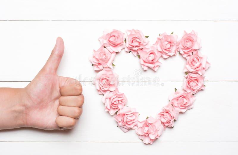 Hart uit roze rozen en jonge handduimen wordt samengesteld op witte woode die stock afbeelding
