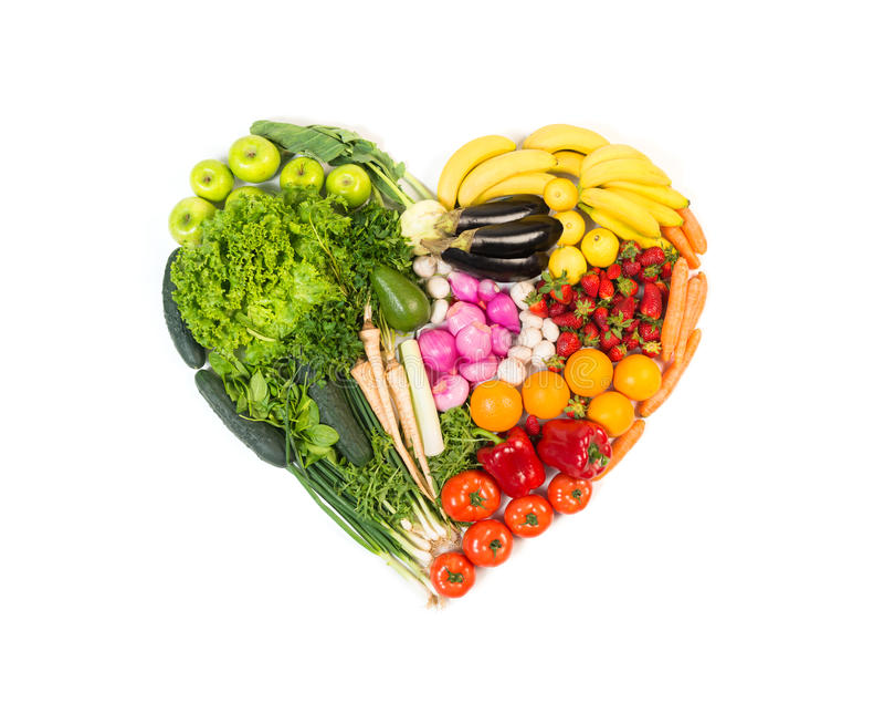 Hart uit vruchten en groenten wordt op wit worden geïsoleerd gemaakt dat royalty-vrije stock foto