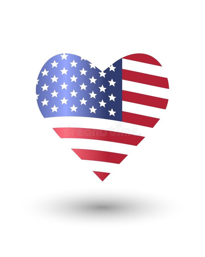 Hart van Amerikaanse vlag wordt gemaakt die stock illustratie