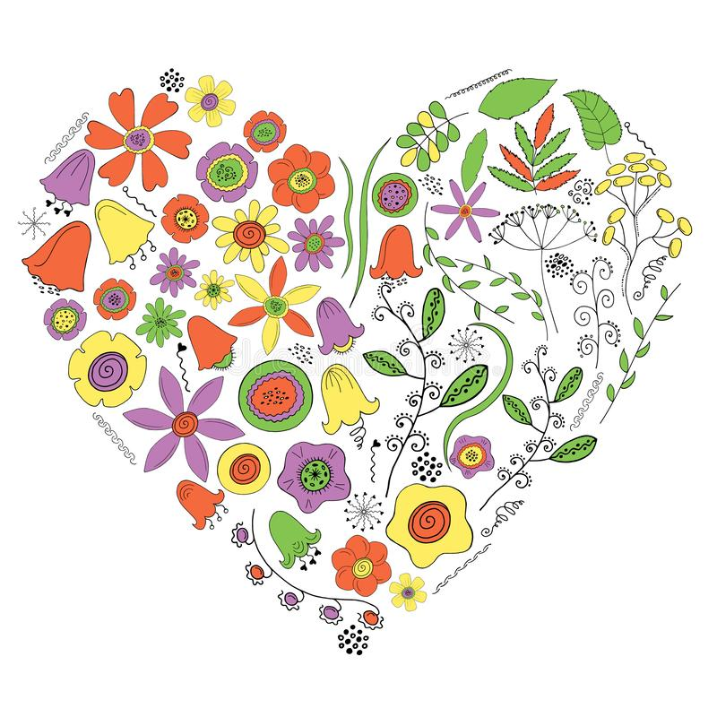 Hart van bloemen en installaties op een witte achtergrond stock illustratie