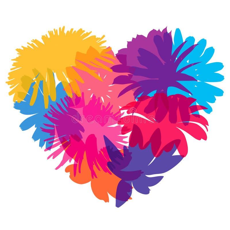 Hart van bloemsilhouetten stock illustratie