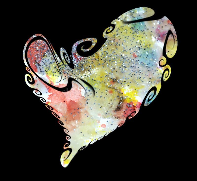 Hart van de tinten van de verfwaterverf, liefdebeeld wordt gemaakt dat royalty-vrije illustratie