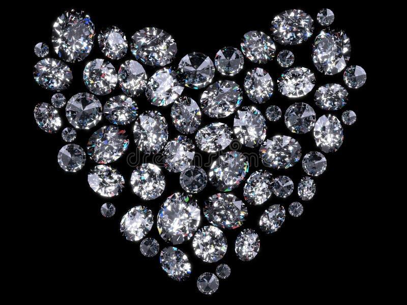 Hart van diamanten stock illustratie