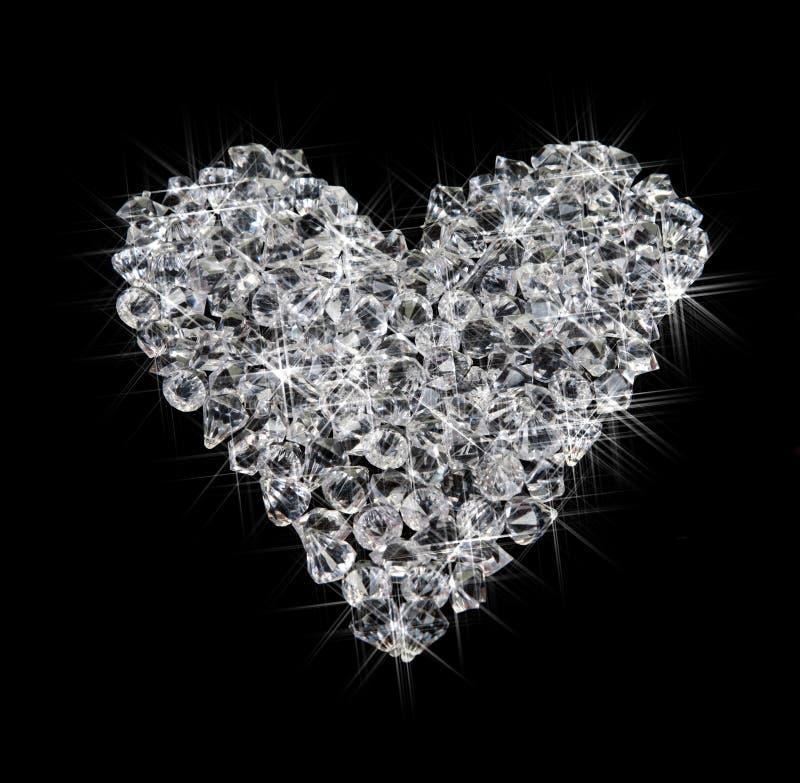 Hart van diamanten op zwarte stock fotografie