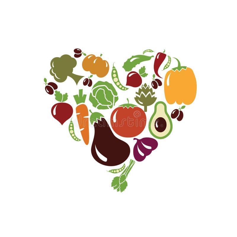 Hart van groenten wordt gemaakt die stock illustratie