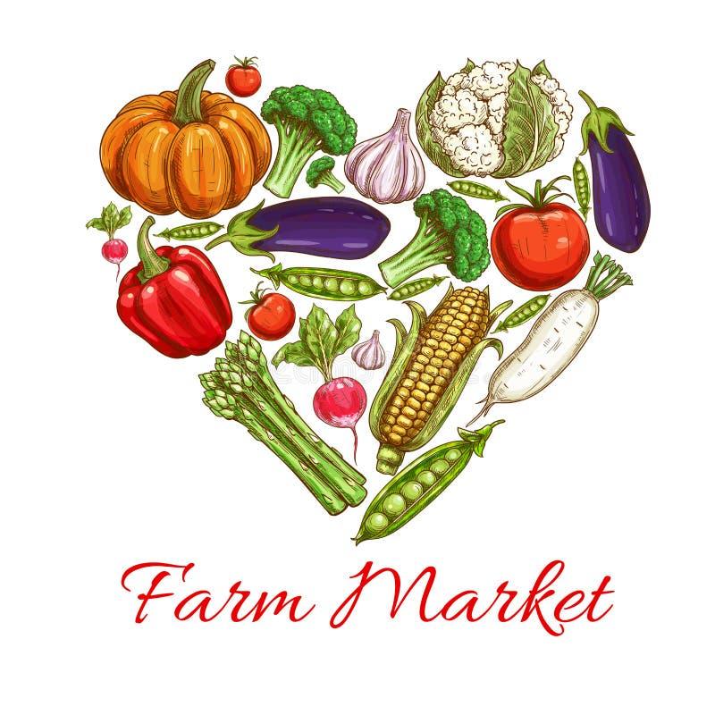Hart van groentenaffiche voor het ontwerp van de landbouwbedrijfmarkt stock illustratie