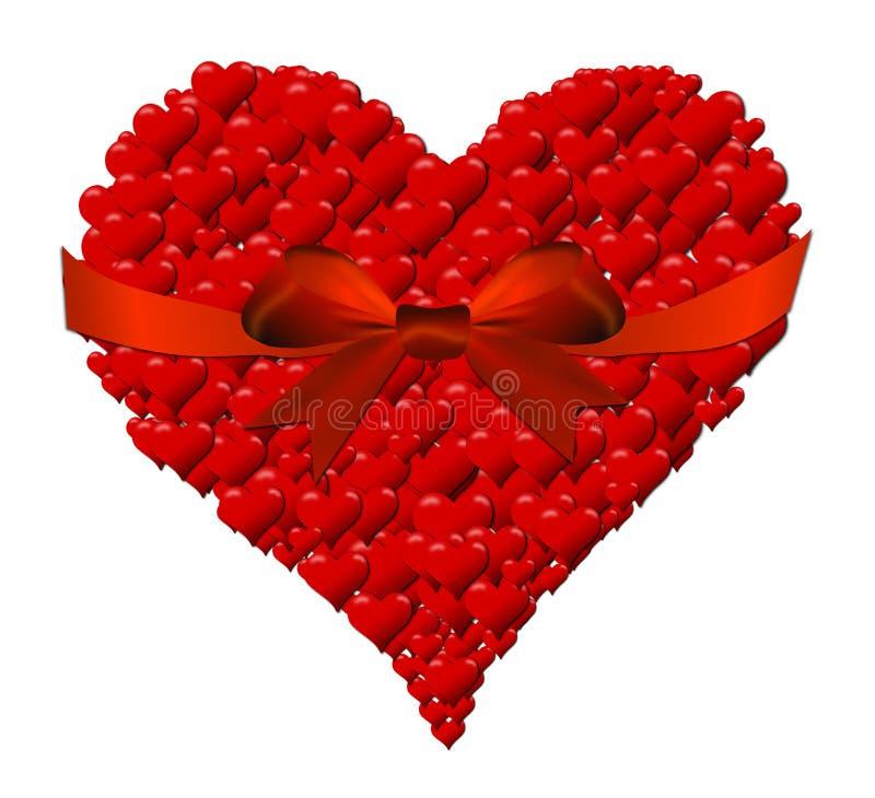 Hart van harten voor de Dag van Valentine met rode boog wordt gemaakt die vector illustratie