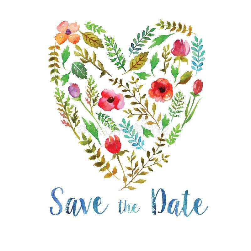 Hart van het huwelijksuitnodiging van waterverfbladeren royalty-vrije illustratie