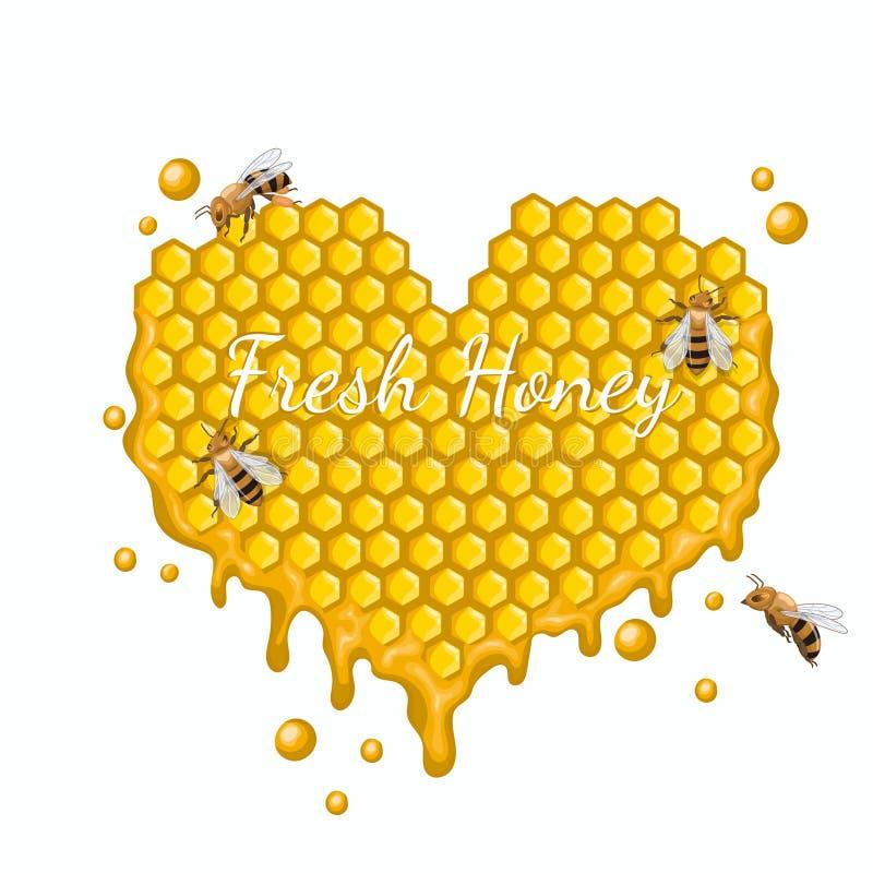Hart van honingraten met bijen wordt gemaakt die Vectorafbeeldingen die op witte achtergrond worden geïsoleerd stock illustratie