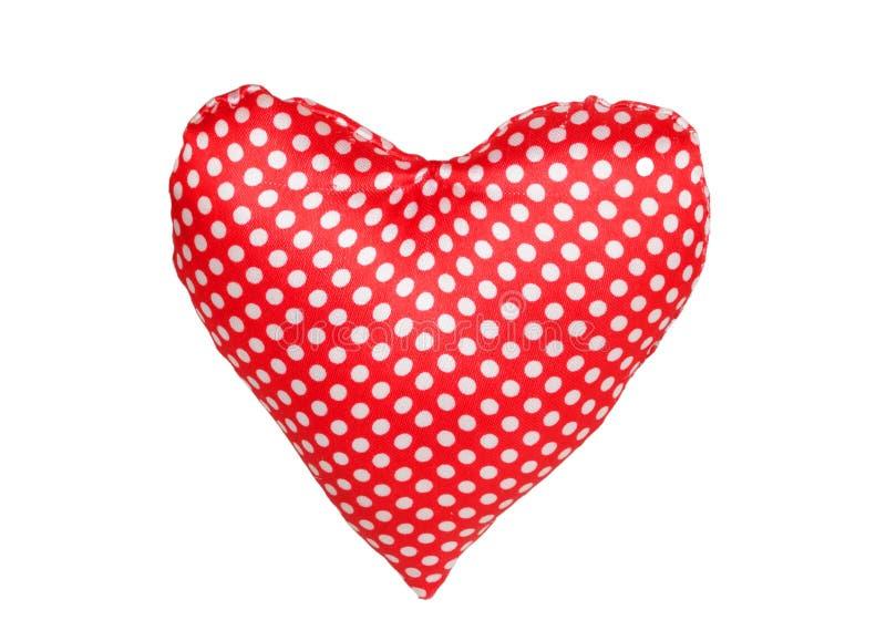 Hart van rode stof met stippen stock afbeeldingen