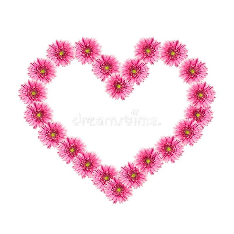 Hart van roze gerberabloemen stock afbeelding