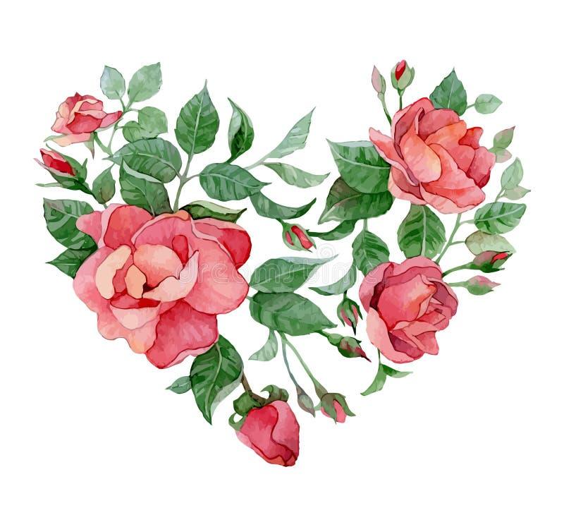 Hart van rozen royalty-vrije illustratie