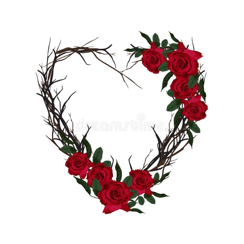 Hart van takjes wordt geweven dat Decoratief bloemenframe De mooie kaart van de valentijnskaartgroet met rode rozen royalty-vrije illustratie