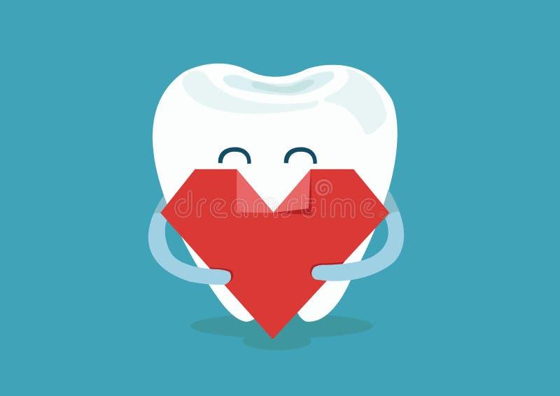 Hart van tand stock illustratie