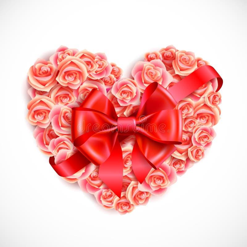 Hart van tedere roze rozen stock illustratie