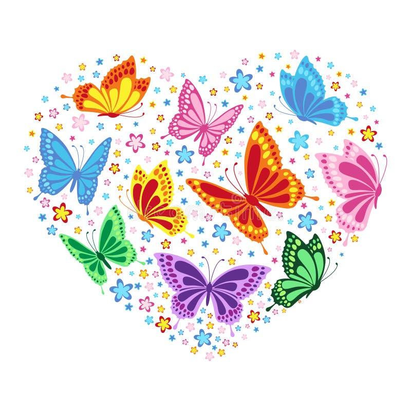 Hart van vlinders en bloemen royalty-vrije illustratie