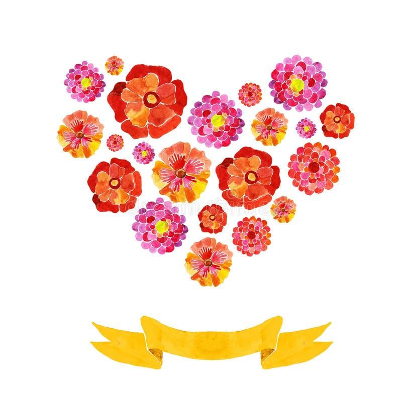 Download Hart van waterverfbloemen vector illustratie. Illustratie bestaande uit vorm - 54090290