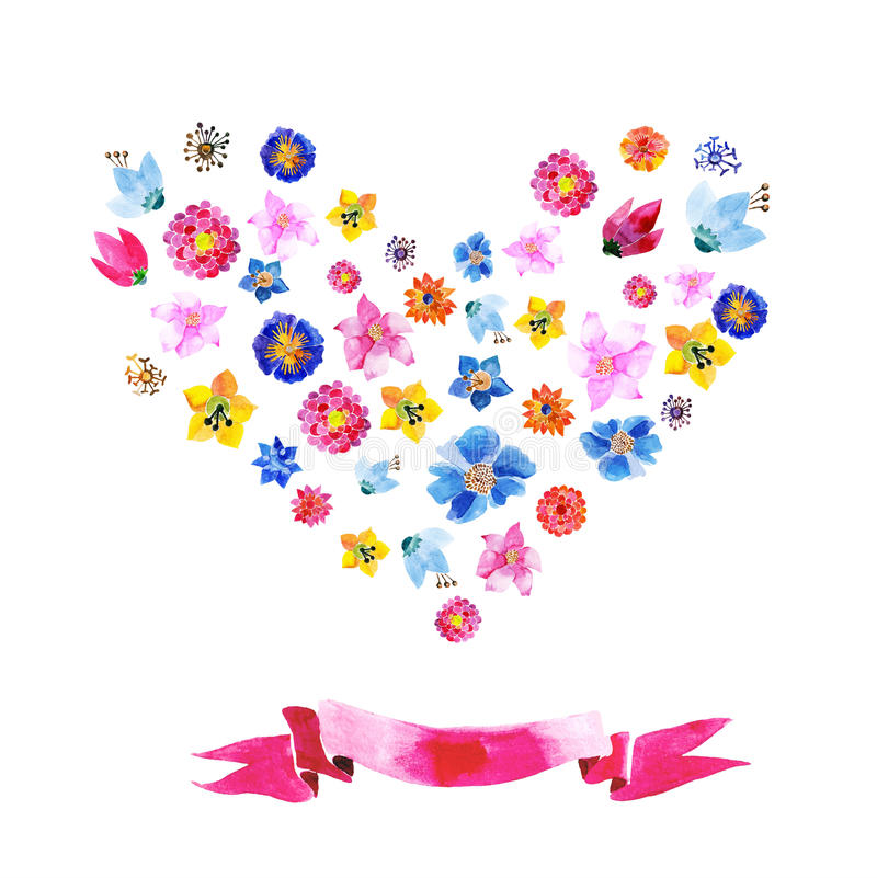 Download Hart van waterverfbloemen vector illustratie. Illustratie bestaande uit summer - 54090394
