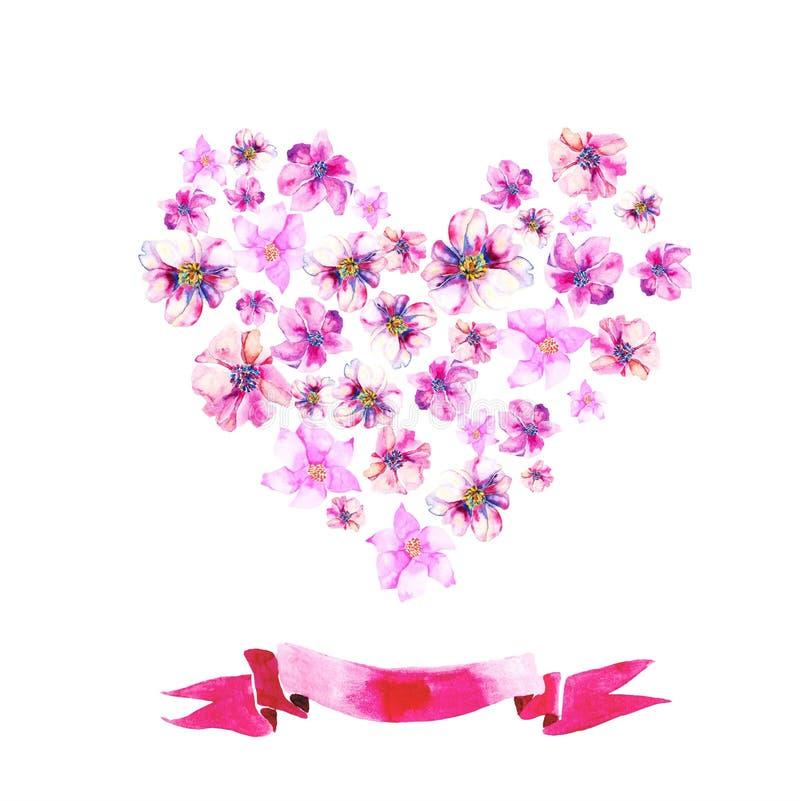 Download Hart van waterverfbloemen vector illustratie. Illustratie bestaande uit ontwerp - 54090396