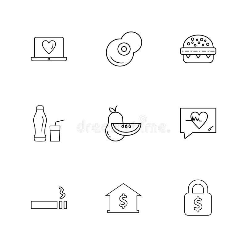 hart, voedsel, vruchten, slot, bank, vruchten, gezondheid, geschiktheid vector illustratie