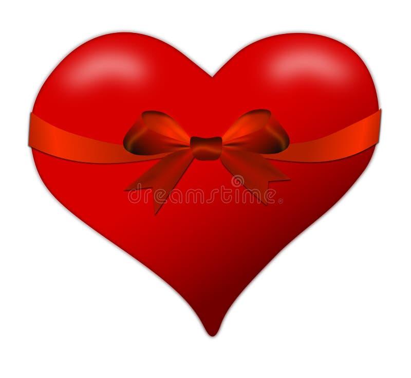 Hart voor de Dag van Valentine met rode boog royalty-vrije illustratie