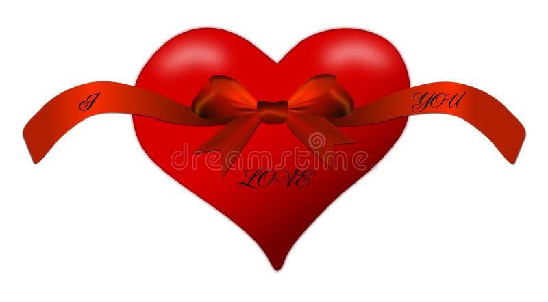 Hart voor de Dag van Valentine met rode boog vector illustratie
